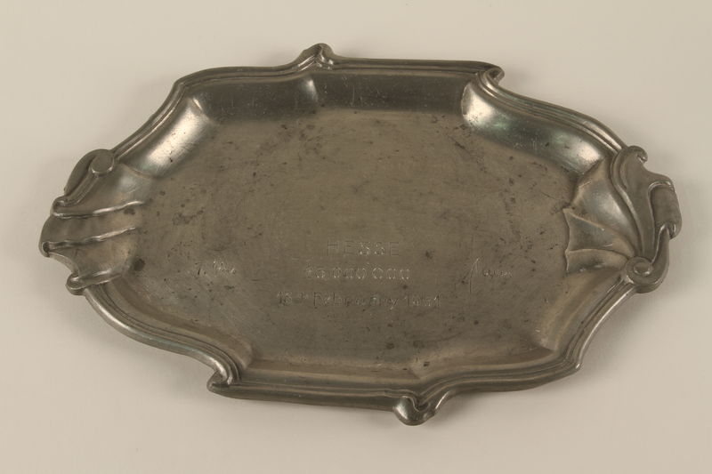 1994.97.2 front Tray commemorating a postwar agreement