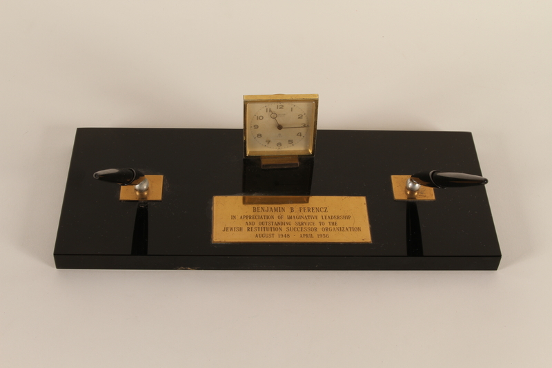 1994.97.5_a-d front Commemorative desk set presented by the JRSO to a chief prosecutor, Nuremberg Trials