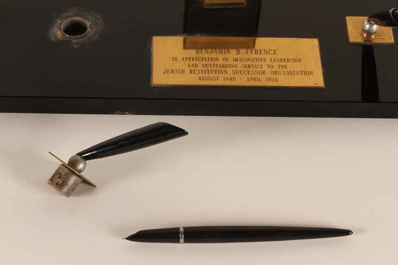 1994.97.5_b-c front Commemorative desk set presented by the JRSO to a chief prosecutor, Nuremberg Trials