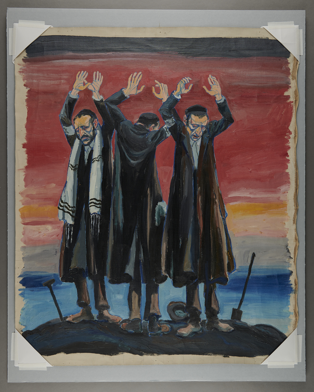 1994.99.1 front Oil painting depicting the American response to the Holocaust
