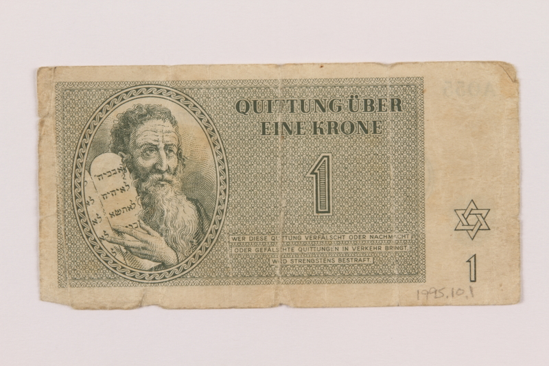 1995.10.1 front Theresienstadt ghetto-labor camp scrip, 1 krone note