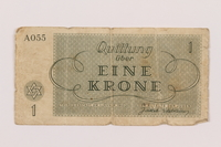 1995.10.1 back Theresienstadt ghetto-labor camp scrip, 1 krone note  Click to enlarge