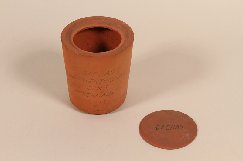 1995.106.1 a-b open Urn found at Dachau concentration camp after liberation by a US soldier