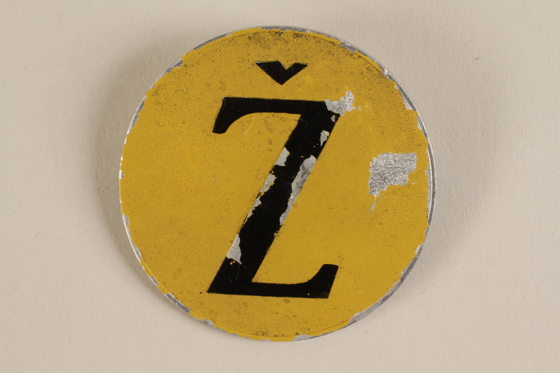 1995.108.1 front Star of David badge with a Z for Jew worn by a Yugoslavian Jewish woman