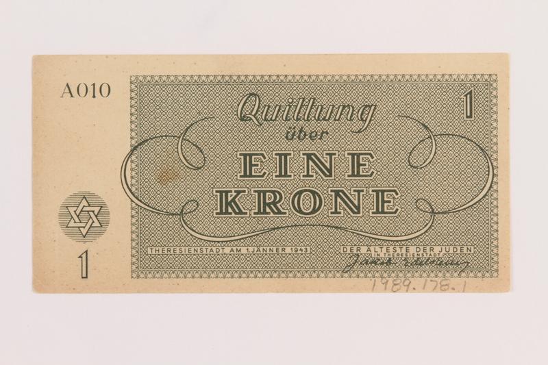 1989.178.1 back Theresienstadt ghetto-labor camp scrip, 1 krone note