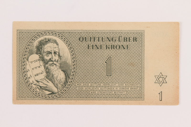 1989.178.1 front Theresienstadt ghetto-labor camp scrip, 1 krone note