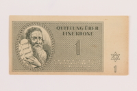 1989.178.1 front Theresienstadt ghetto-labor camp scrip, 1 krone note  Click to enlarge