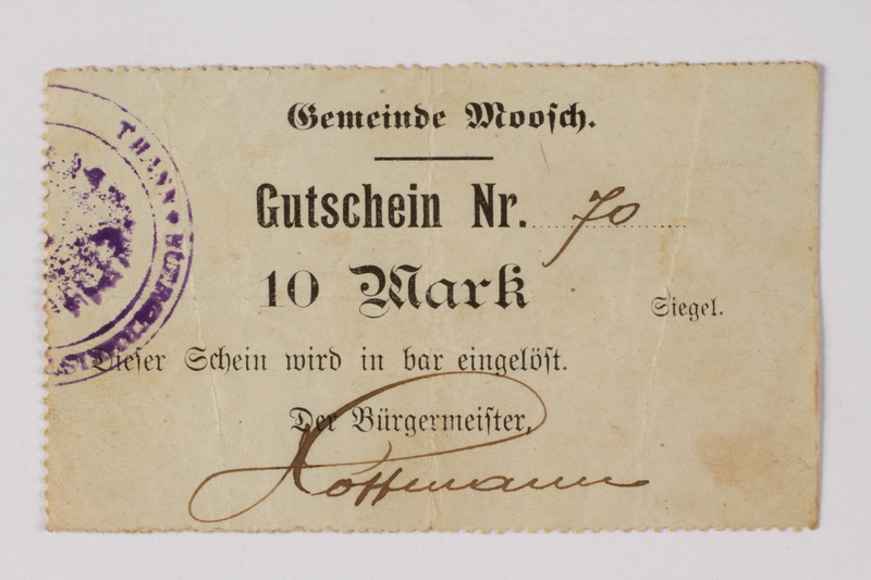 1989.178.10 front Moosch (Alsace), France, 10 mark currency exchange coupon 70