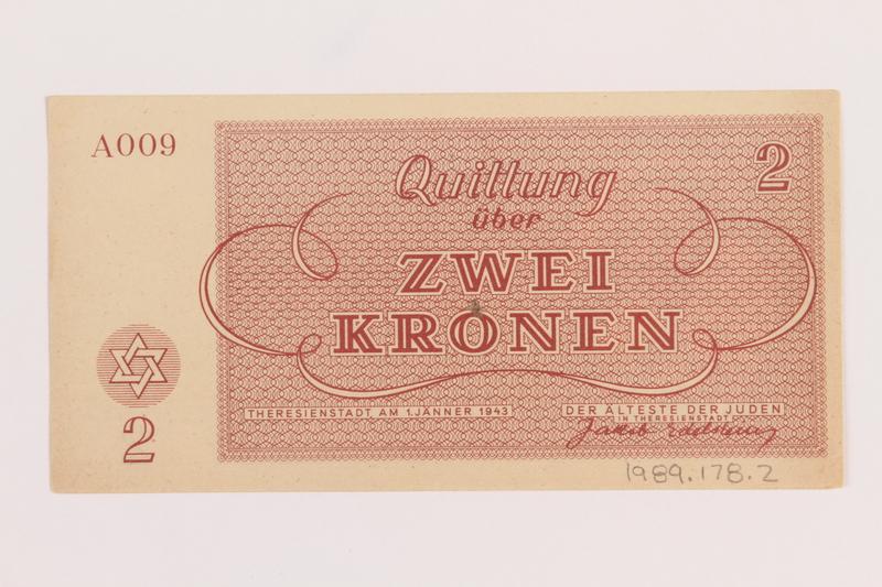 1989.178.2 back Theresienstadt ghetto-labor camp scrip, 2 kronen note