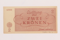 1989.178.2 back Theresienstadt ghetto-labor camp scrip, 2 kronen note  Click to enlarge