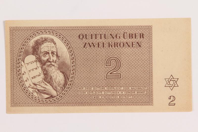 1989.178.2 front Theresienstadt ghetto-labor camp scrip, 2 kronen note