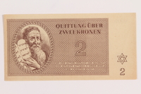 1989.178.2 front Theresienstadt ghetto-labor camp scrip, 2 kronen note  Click to enlarge