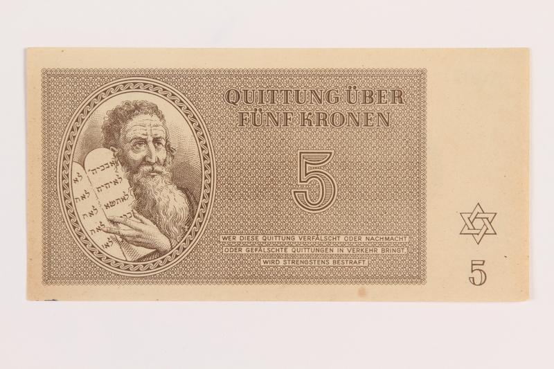 1989.178.3 front Theresienstadt ghetto-labor camp scrip, 5 kronen note