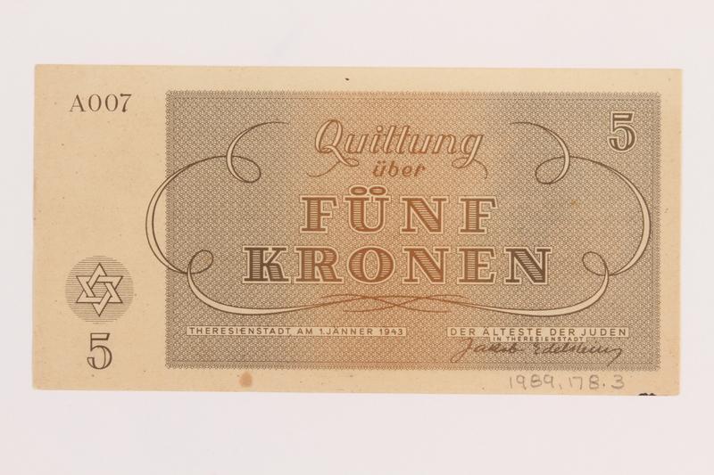 1989.178.3 back Theresienstadt ghetto-labor camp scrip, 5 kronen note