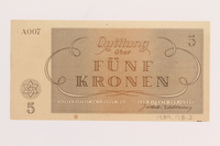 1989.178.3 back Theresienstadt ghetto-labor camp scrip, 5 kronen note  Click to enlarge