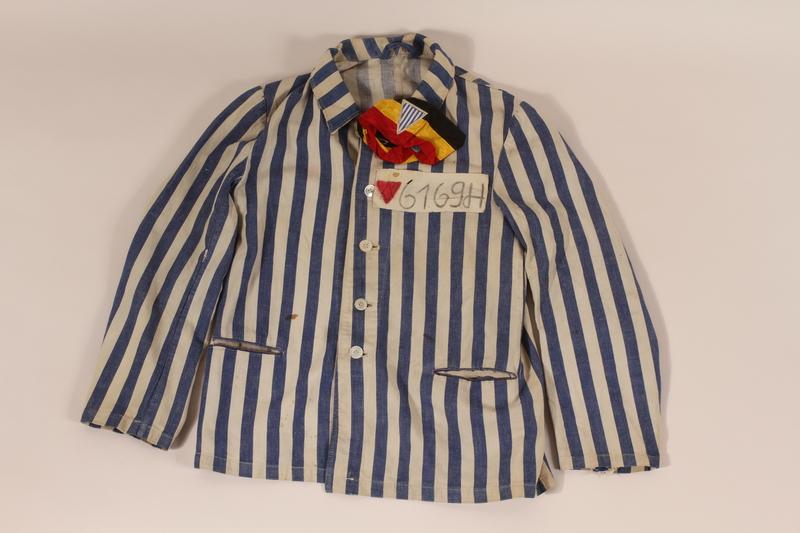 2012.441.2 a front Concentration camp uniform owned postwar by a Belgian Jewish survivor