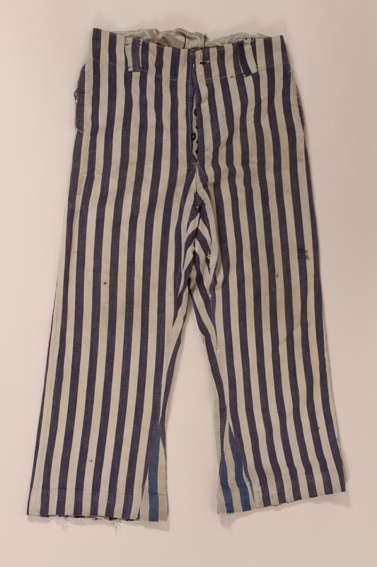 2012.441.2 b front Concentration camp uniform owned postwar by a Belgian Jewish survivor