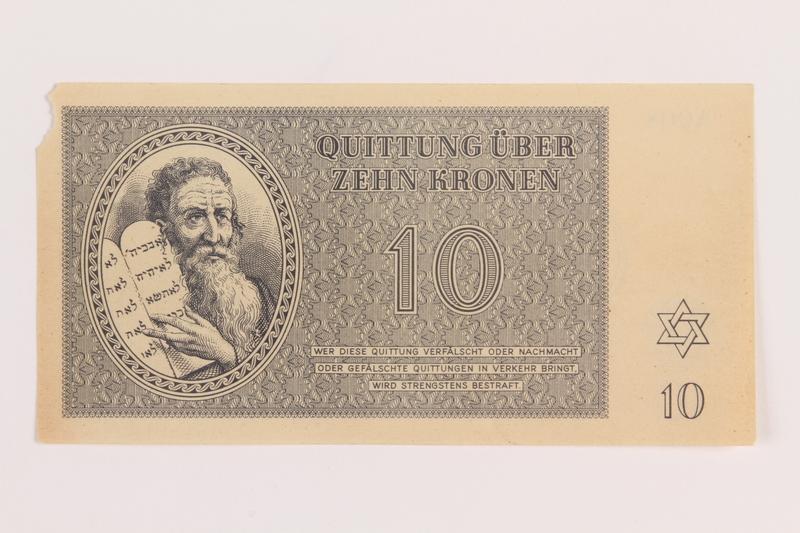 1989.178.4 front Theresienstadt ghetto-labor camp scrip, 10 kronen note