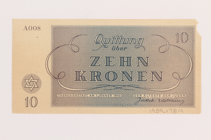 1989.178.4 back Theresienstadt ghetto-labor camp scrip, 10 kronen note