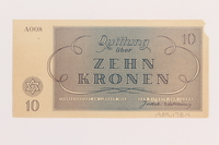 1989.178.4 back Theresienstadt ghetto-labor camp scrip, 10 kronen note  Click to enlarge