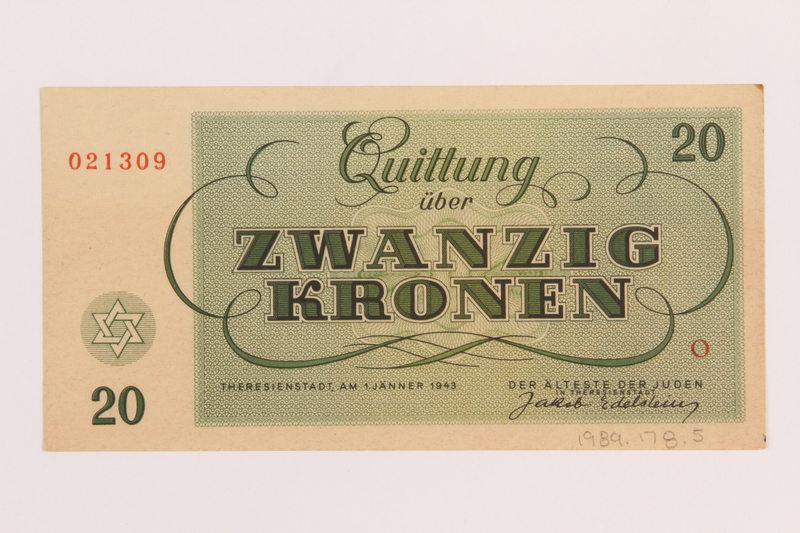1989.178.5 back Theresienstadt ghetto-labor camp scrip, 20 kronen note