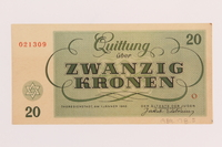 1989.178.5 back Theresienstadt ghetto-labor camp scrip, 20 kronen note  Click to enlarge
