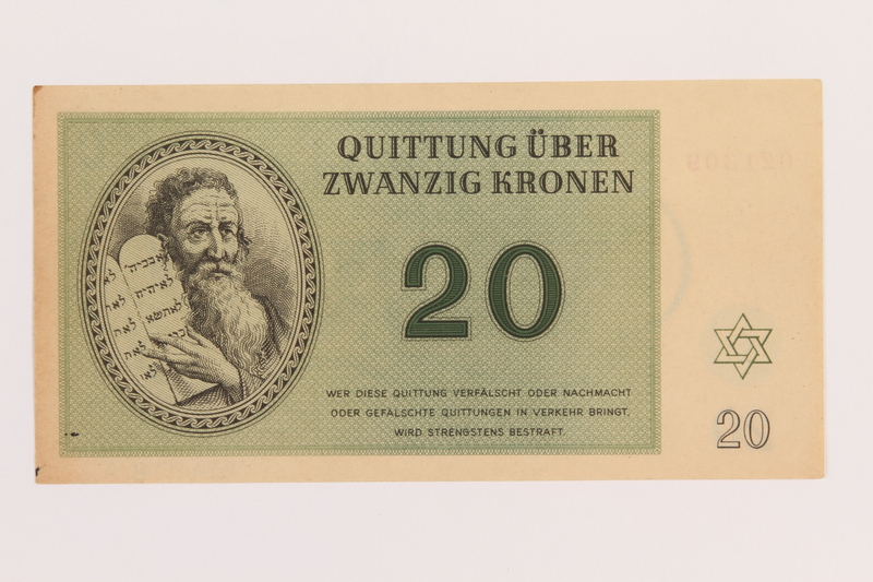 1989.178.5 front Theresienstadt ghetto-labor camp scrip, 20 kronen note