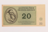 1989.178.5 front Theresienstadt ghetto-labor camp scrip, 20 kronen note  Click to enlarge