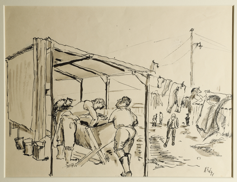 1988.1.24 front Drawing of women washing clothes at a washhouse by a German Jewish internee