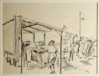 1988.1.24 front Drawing of women washing clothes at a washhouse by a German Jewish internee  Click to enlarge