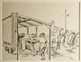 Drawing of women washing clothes at a washhouse by a German Jewish internee