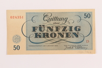 1989.178.6 back Theresienstadt ghetto-labor camp scrip, 50 kronen note  Click to enlarge