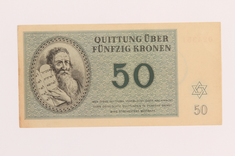 1989.178.6 front Theresienstadt ghetto-labor camp scrip, 50 kronen note