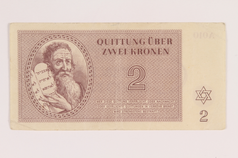 2014.281.14 front Theresienstadt ghetto-labor camp scrip, 2 kronen note, acquired by an inmate