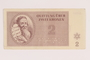 Theresienstadt ghetto-labor camp scrip, 2 kronen note, acquired by an inmate