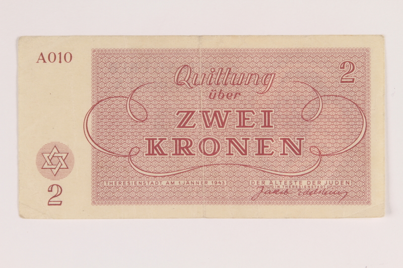 2014.281.14 back Theresienstadt ghetto-labor camp scrip, 2 kronen note, acquired by an inmate