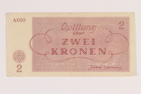 2014.281.14 back Theresienstadt ghetto-labor camp scrip, 2 kronen note, acquired by an inmate  Click to enlarge