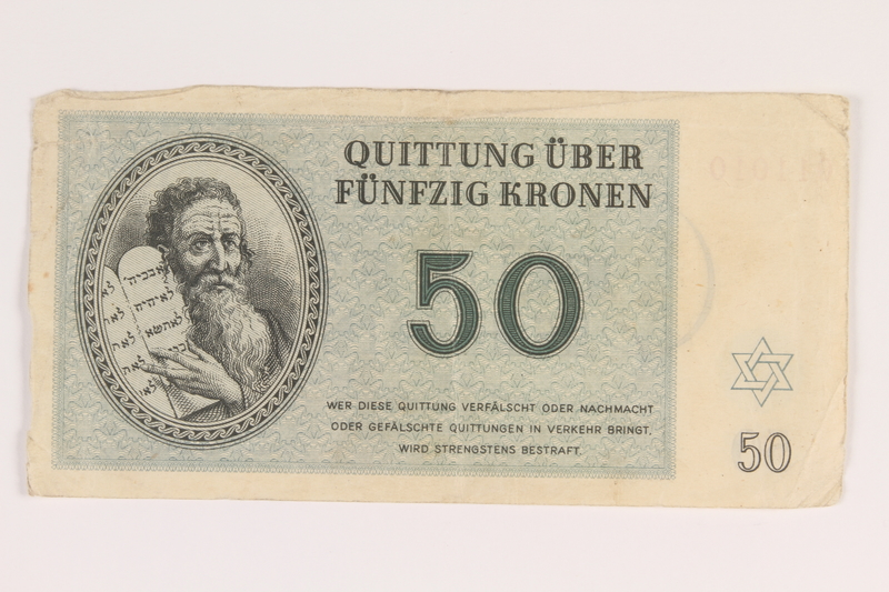 2014.281.16 front Theresienstadt ghetto-labor camp scrip, 50 kronen note, acquired by an inmate