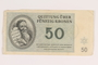 Theresienstadt ghetto-labor camp scrip, 50 kronen note, acquired by an inmate