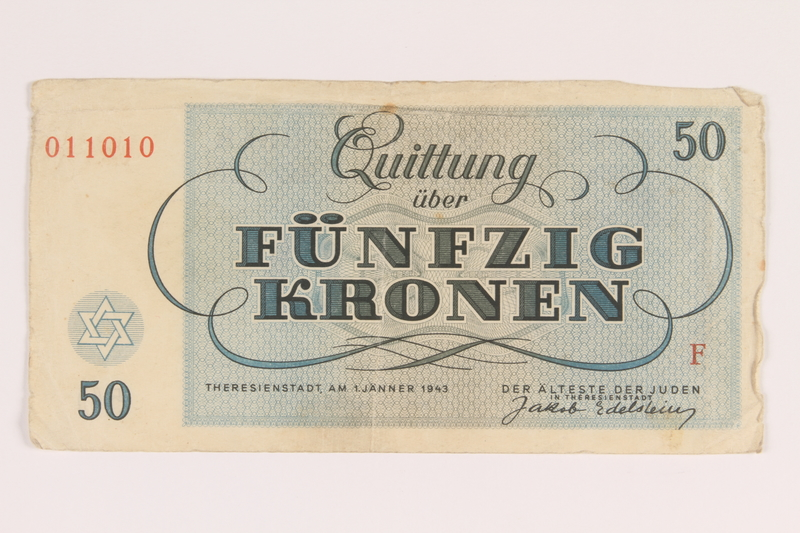 2014.281.16 back Theresienstadt ghetto-labor camp scrip, 50 kronen note, acquired by an inmate