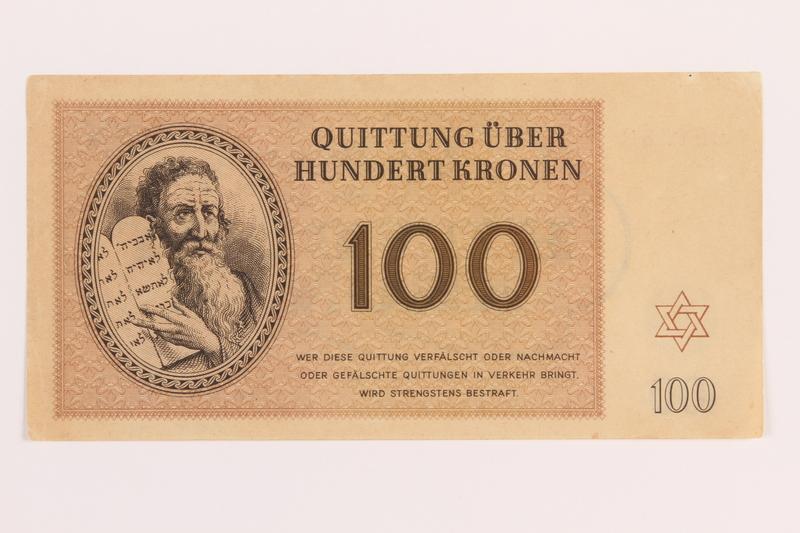 1989.178.7 front Theresienstadt ghetto-labor camp scrip, 100 kronen note
