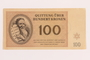Theresienstadt ghetto-labor camp scrip, 100 kronen note