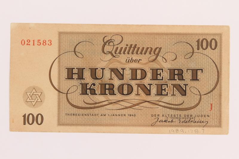 1989.178.7 back Theresienstadt ghetto-labor camp scrip, 100 kronen note