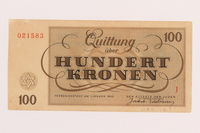 1989.178.7 back Theresienstadt ghetto-labor camp scrip, 100 kronen note  Click to enlarge