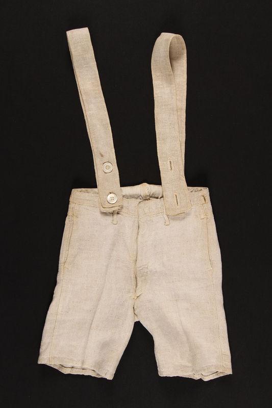1994.105.1_b-d front German Jewish boy's beige summer suit