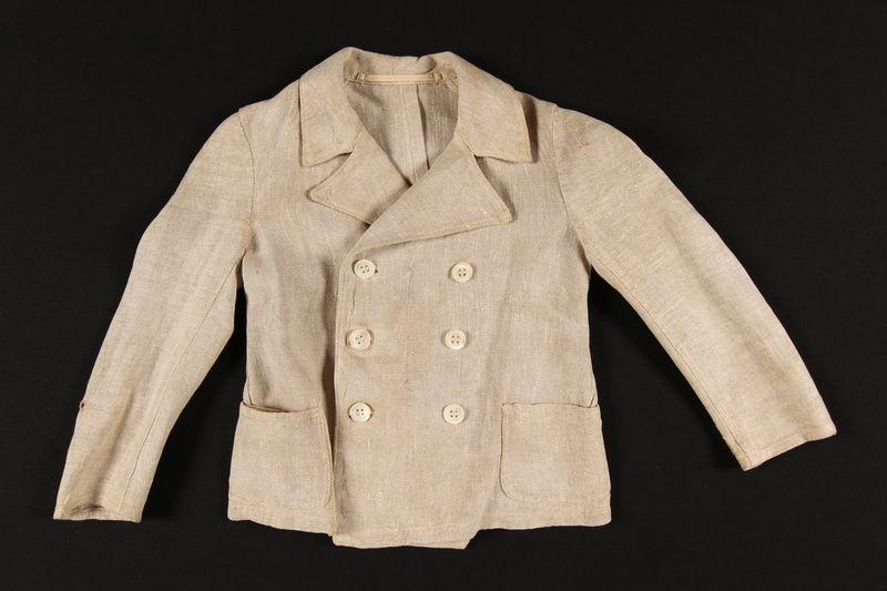 1994.105.1_a front German Jewish boy's beige summer suit