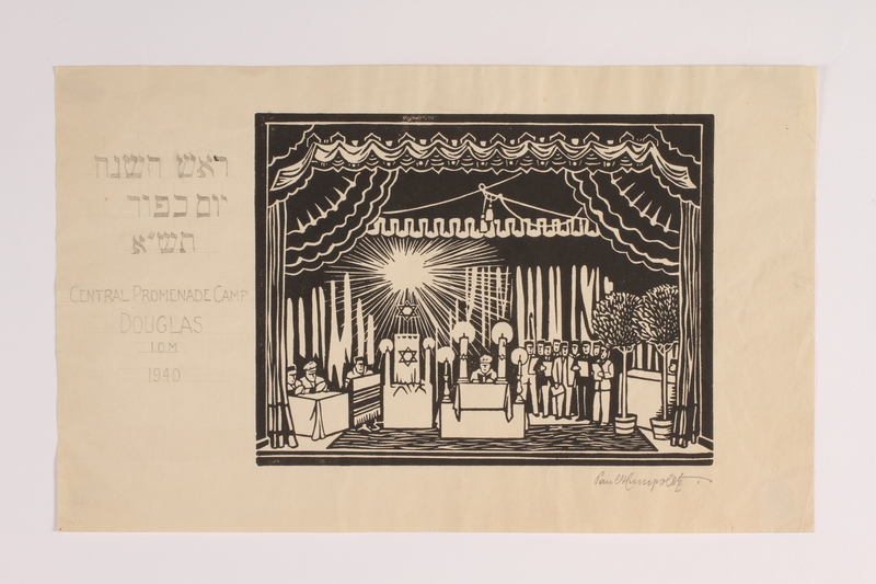2014.484.1 front Woodblock print depicting Jewish internees at High Holiday services