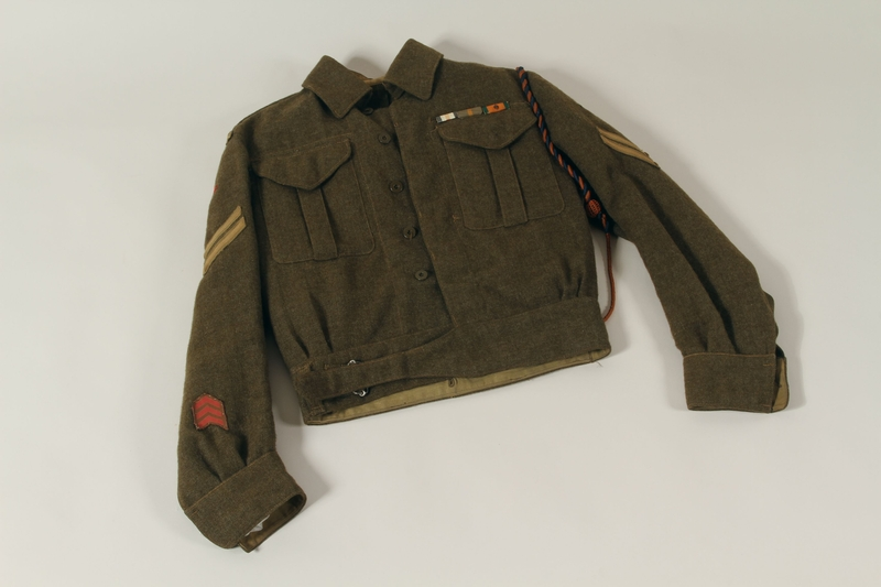 1991.119.1 a front Military blouse, trousers, and General Service Cap worn by a Dutch Jewish corporal in the Prinses Irene Brigade