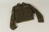 1991.119.1 a front Military blouse, trousers, and General Service Cap worn by a Dutch Jewish corporal in the Prinses Irene Brigade  Click to enlarge