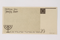 1989.185.1 back Łódź (Litzmannstadt) ghetto scrip, 20 mark note, owned by a Polish Jewish survivor  Click to enlarge